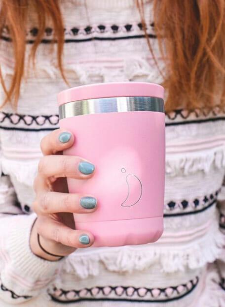 Chilly's thermos koffiebeker voor onderweg mat roze