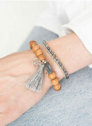 armband van sandelhout Satya Labradoriet Boom Zilver