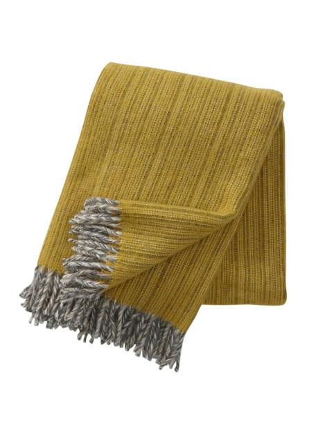 geel dusty yellow lamswol plaid klippan