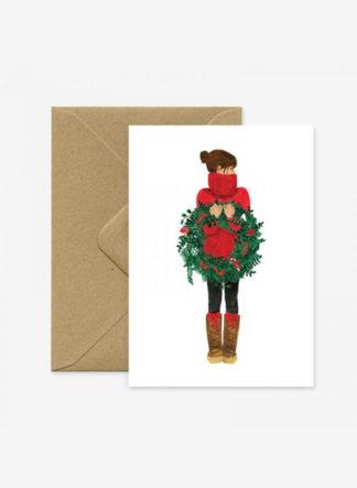 Christmas Winter Girl Crown kerstkaart