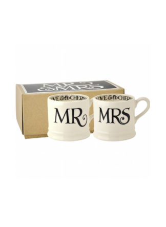 Emma Bridgewater - Babymug set Mr & Mrs Black Toast