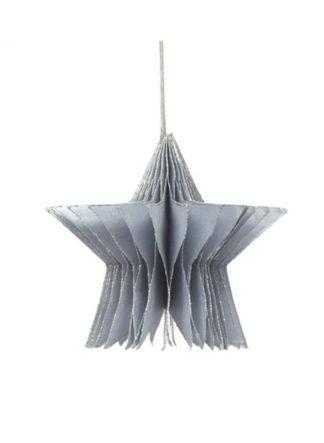 Opvouwbaar honeycomb ornament van papier in de kleur zilver met glitter. Met magneetsluiting.