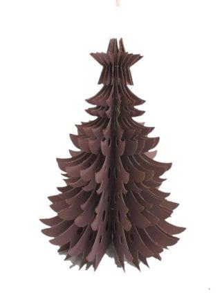 X-mass kerstboom ornament van papier in kleur roze en goud glitter met ring