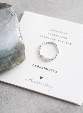 Beauty Labradoriet Zilver Ring S/M