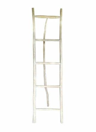 decoratie ladder earthware van wit hout XL