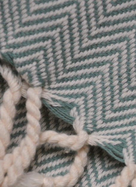 hamamdoek groen met visgraat patroon