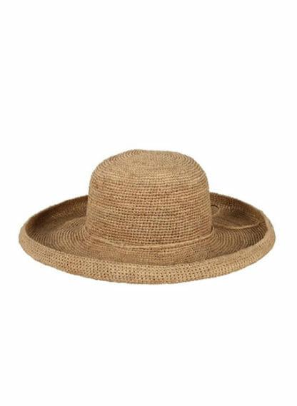 Gevlochten hoed met lange omgeslagen rand