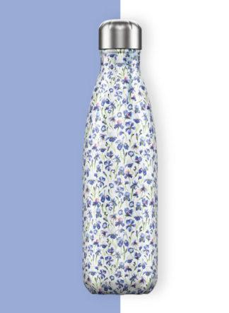 chilly ijskoude of warm drinkfles met iris bloemen