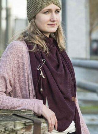 knit factory aubergine poncho