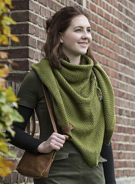 knit factory omslagdoek groen