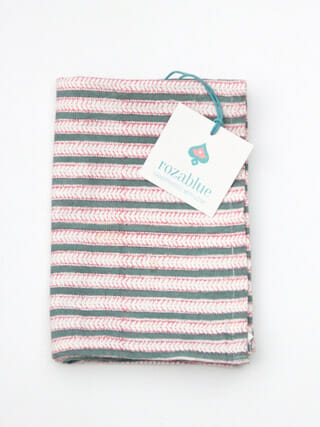 Theedoek Funkystripes strawberry & green