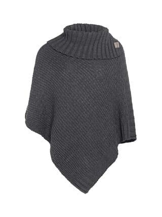 gebreide poncho nicky van knit factory donker grijs